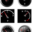 Stock Vector: Set of six car dash boards petrol meter
