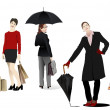 Five Business women. Vector — Imagen vectorial