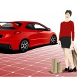 Stock Vector: Three shopping women with red car
