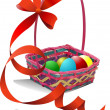 Stock Vector: Basket with Easter eggs