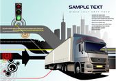 Abstract hi-tech background with truck — Stock Vector