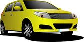 Yellow car sedan on the road — Stock Vector