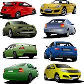 Otto auto sulla strada. — Vettoriale Stock
