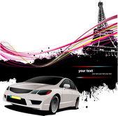 Sedan car with Paris image background — Stock Vector