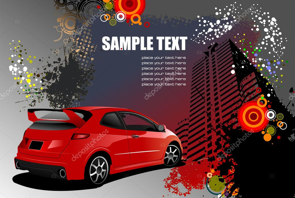 Grunge abstract hi-tech background with red car image. Vector illustration — Stock Vector #2696396