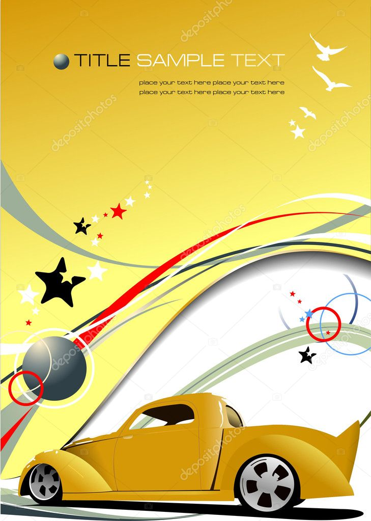 Yellow  business background with pick-up  image. Vector illustration — Stock Vector #2696469