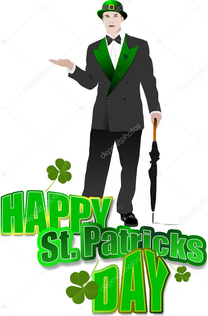 Gentleman  with umbrella in green hat for St. Patrick`s day. Vector illustration — Vettoriali Stock  #2696613