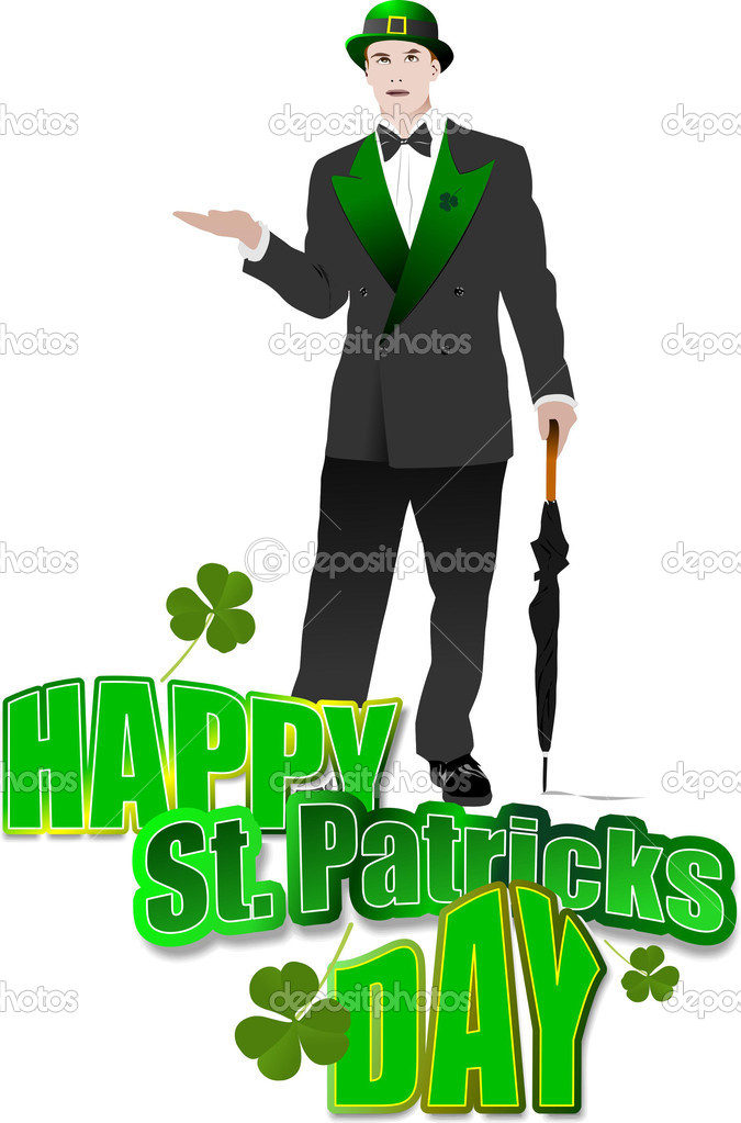 Gentleman  with umbrella in green hat for St. Patrick`s day. Vector illustration — ベクター素材ストック #2696613
