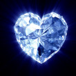 Stock Photo: Heart of diamond on black backgroun
