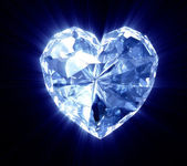 Heart of diamond on the black backgroun — Stock Photo