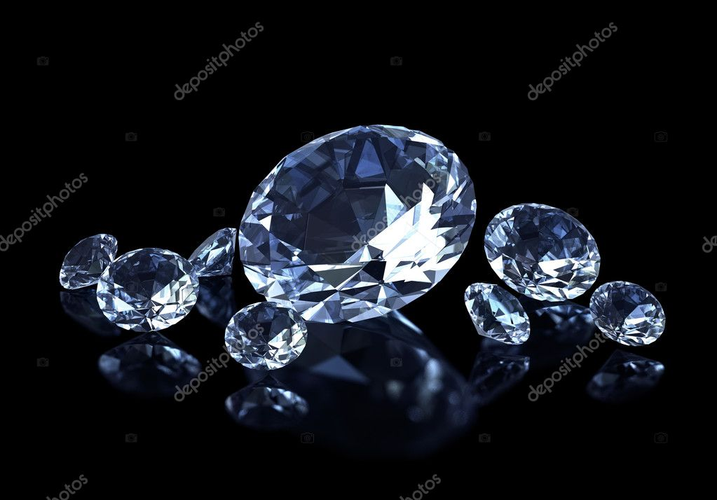  diamonds on the black background  Stock Photo #3471756