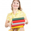 Girl with books over white — Stock Photo