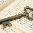 Closeup of key placed on vintage bible — Stock Photo
