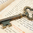 Closeup of key placed on vintage bible — Stock Photo #2699674