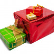 Stock Photo: Few colored gift boxes on white
