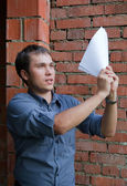 Happy worker with documents — Stock Photo
