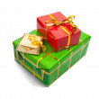 Stock Photo: Few colored present boxes on white