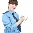 Woman in uniform writing on her notepad — Stock Photo