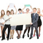 Businessteam holds blank — Stock Photo