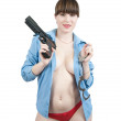Sexy girl with gun and manacles — Stock Photo #2706551