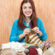 Knitting woman — Stock Photo