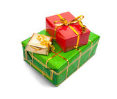 Few colored present boxes on white — Stock Photo