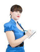Businesswoman writing on a notebook — Stock Photo