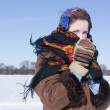 Girl   against  winter landscape — Stock Photo