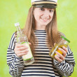 Stock Photo: Female sailor with vodka