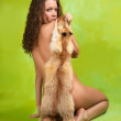 Royalty-Free Stock Photo: Naked  girl  with fox fur