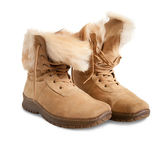 Fur beige boots — Stock Photo