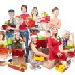 Girls with christmas gifts - Stock Photo