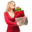 Girl in dress with present boxes — Stock Photo #2735990