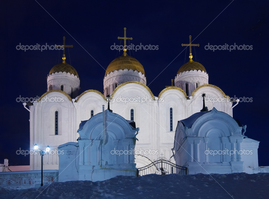 Assumption cathedral at Vladimir in winter  night, Russia — Stock Photo #2734473