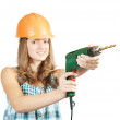 Royalty-Free Stock Photo: Young woman with drill
