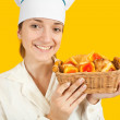 Stock Photo: Cook with pastry