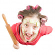 Angry housewife over white — Stock Photo #3105247