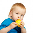 Boy with pear — Stockfoto