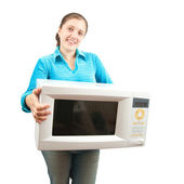 Girl with mini oven over white — Stock Photo