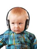 Small boy with headphones o — Stock Photo