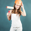 Female house painters with paint roller — Stock Photo