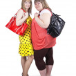 Casual girls with handbags — Stock Photo