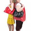 Girlfriends with bag — Stock Photo
