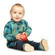 Boy in chequered shirt with apple — Stock Photo #3115028