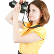 Photographer girl with camera — 图库照片