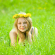 Stock Photo: Girl in dandelion chaplet