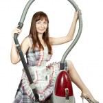 Elektrikli süpürge ile kız — Stok fotoğraf