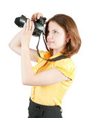 Photographer girl with camera — Stock Photo