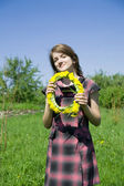 Long-haired teen girl with a chaplet — Stock Photo