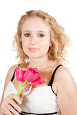 Girl with tulips flower — Stock Photo